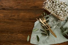 Rustic wedding table stylish decoration on wooden background, royalty free stock images
