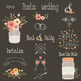 Rustic wedding vector design elements Royalty Free Stock Photos