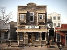 Rustic western town sheriff`s office. 3d rendering. Part of a western town series stock photo