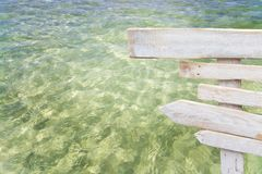 Rustic white empty wood sign over fresh green ocean water. In Es Trenc Mallorca Stock Image