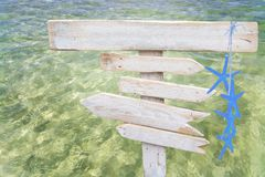 Rustic white empty wood signs with blue starfish over fresh green ocean water. At Es Trenc, Mallorca Stock Image
