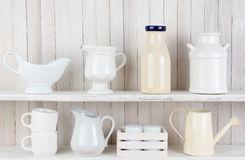 Rustic White Kitchen Shelves Stock Images