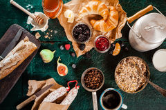 Rustic wholesome healthy breakfast Stock Photos