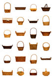 Rustic Wicker Basket Collection Isolated on White stock photo