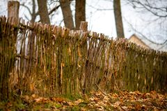 Rustic wicker fence Royalty Free Stock Image