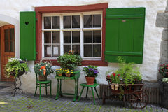 Rustic window with green shutters and flower pots Stock Images