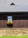 Rustic window in a mountain cottage Stock Image