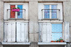 Rustic windows with flowers Royalty Free Stock Photos
