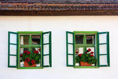 Rustic windows with flowers. Detail of traditional szekely house in Rimetea/Torockó, Transylvaniai Royalty Free Stock Image