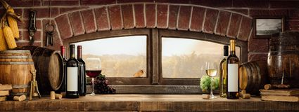 Rustic wine cellar in the countryside royalty free stock photography