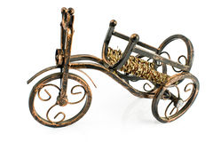 Rustic wine rack in form of tricycle Stock Image