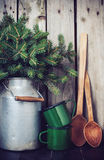 Rustic winter decoration Stock Image