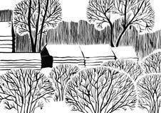 Rustic winter landscape stock illustration