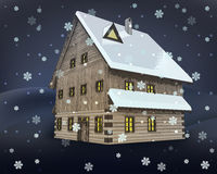 Rustic winter wooden high cottage house at night snowfall  Royalty Free Stock Photo