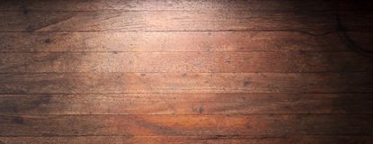 Rustic Wood Banner Background. A used, old and worn wood banner background with gradated lighting to black Royalty Free Stock Photography