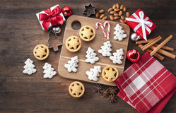 Rustic Wood Christmas Cookies Stock Image