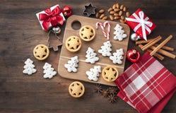Rustic Wood Christmas Cookies Stock Image