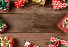 Rustic Wood Floor Christmas Presents Stock Photo