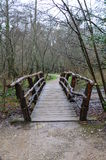 Rustic wood footbridge Stock Photos