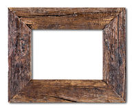 Rustic wood frame. Isolated on a white background royalty free stock photo