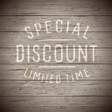 Rustic wood with slogan for retail Stock Image