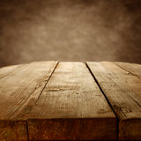 Rustic wood table Royalty Free Stock Image