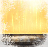 Rustic wood table in front of glitter silver and gold bright bokeh lights Royalty Free Stock Photo