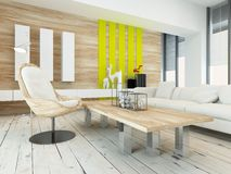 Rustic wood veneer finish living room interior. With natural wood coffee table and wall panels and white painted wooden floorboards, yellow accents and large Royalty Free Stock Photos