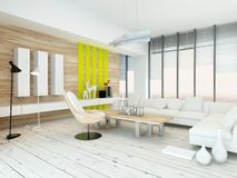 Rustic wood veneer finish living room interior. With natural wood coffee table and wall panels and white painted wooden floorboards, yellow accents and large Stock Photo