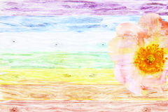 Rustic wooden background colored like a rainbow with wild rose Stock Image