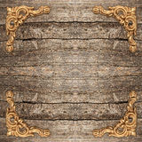 Rustic wooden background with golden corner Royalty Free Stock Image