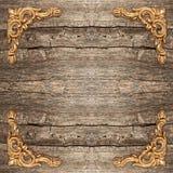Rustic wooden background with golden corner. Vintage framework Royalty Free Stock Image