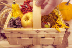 Rustic wooden basket with fall products Royalty Free Stock Photos