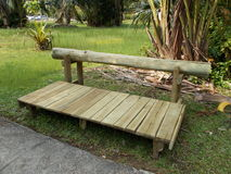 Rustic Wooden Bench at Outdoor Park Stock Photography