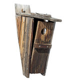 Rustic wooden birdhouse weathered isolated Royalty Free Stock Images