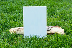 Rustic wooden blank sign on grass Stock Photo