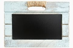 Rustic wooden blue crate with chalkboard blackboard as copy space for your custom te Royalty Free Stock Photo