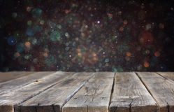 Rustic wooden boards and bokeh lights background. ready for product display stock photos
