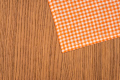 Rustic wooden boards with a orange checkered Royalty Free Stock Image