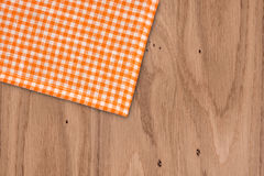 Rustic wooden boards with a orange checkered Royalty Free Stock Photos
