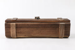 Rustic wooden box. Vintage wooden chest closed and isolated against a white background Stock Photography