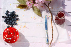 Rustic wooden breakfast background with bluberries and copy space Royalty Free Stock Image