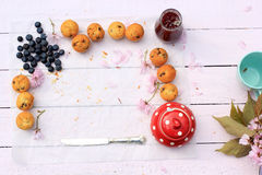 Rustic wooden breakfast background with bluberries, fresh scones and copy space Royalty Free Stock Image