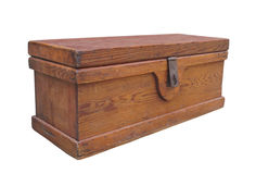Rustic wooden chest with latch isolated. Royalty Free Stock Photography