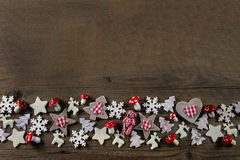 Rustic wooden christmas background with red and white checked de Stock Photo
