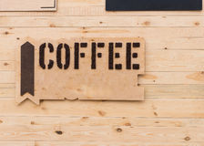 Rustic wooden coffee sign Stock Photos