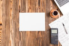 Rustic Wooden Desk In Office, Top View With Available Copy Space Royalty Free Stock Images
