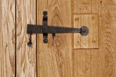 Rustic wooden door indoor, heart shaped ornament Royalty Free Stock Photo