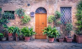 Rustic wooden door. Rustic brown wooden door somewhere in Tuscany Royalty Free Stock Photo