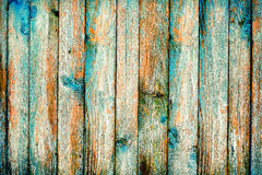 Rustic wooden fence purification of blue paint Royalty Free Stock Photos